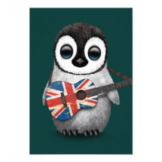Baby Penguin Playing British Flag Guitar Teal Personalized Invitations
