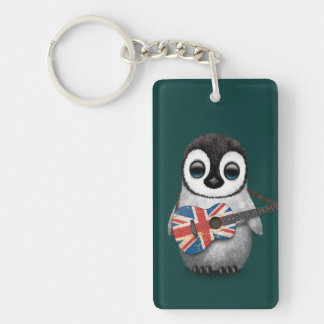 Baby Penguin Playing British Flag Guitar Teal Keychains