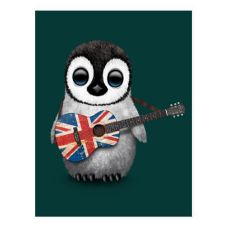 Baby Penguin Playing British Flag Guitar Teal Post Cards