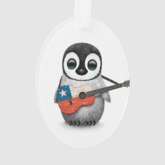 Baby Penguin Playing Chilean Flag Guitar