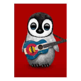 Baby Penguin Playing Colorado Flag Guitar Red Business Card Template