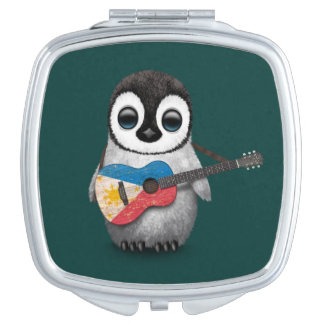 Baby Penguin Playing Filipino Flag Guitar Teal Compact Mirror