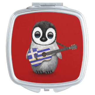 Baby Penguin Playing Greek Flag Guitar Red Makeup Mirrors