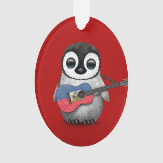 Baby Penguin Playing Haitian Flag Guitar Red