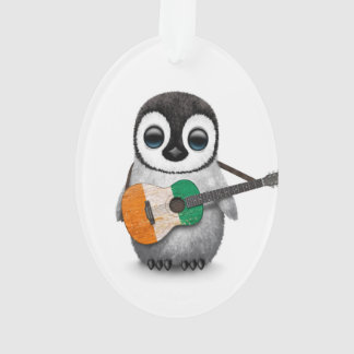 Baby Penguin Playing Ivory Coast Flag Guitar