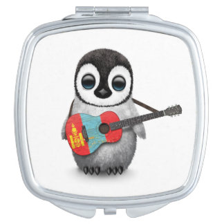 Baby Penguin Playing Mongolian Flag Guitar Compact Mirror