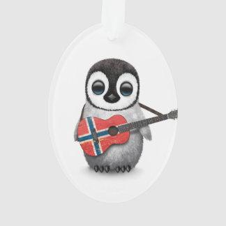 Baby Penguin Playing Norwegian Flag Guitar
