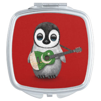 Baby Penguin Playing Pakistani Flag Guitar Red Compact Mirrors