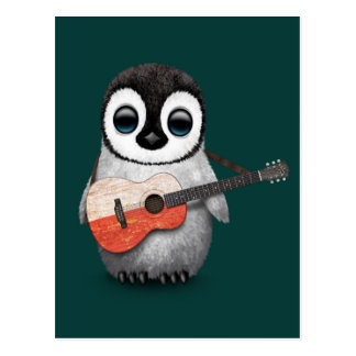 Baby Penguin Playing Polish Flag Guitar Teal Postcard