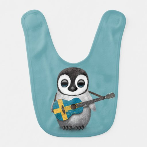 Baby Penguin Playing Swedish Flag Guitar Blue Baby Bibs