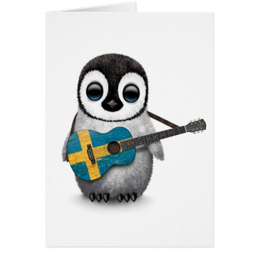 Baby Penguin Playing Swedish Flag Guitar Greeting Cards