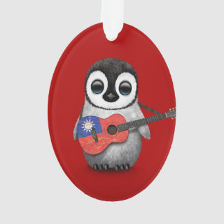 Baby Penguin Playing Taiwanese Flag Guitar Red