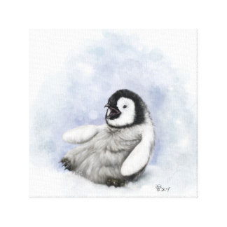 Baby Penguin Slipping Canvas