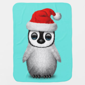 Baby Penguin Wearing a Santa Hat Baby Blanket