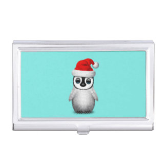 Baby Penguin Wearing a Santa Hat Business Card Holder
