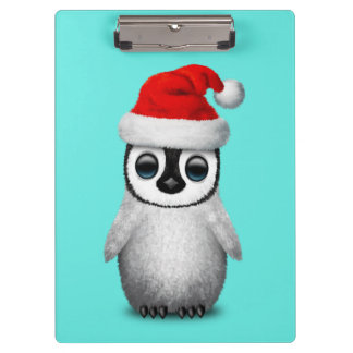 Baby Penguin Wearing a Santa Hat Clipboard