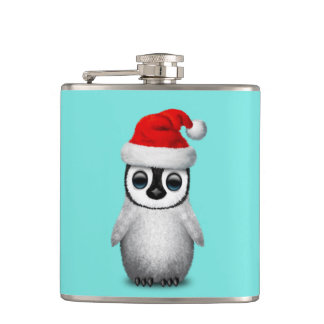 Baby Penguin Wearing a Santa Hat Hip Flask