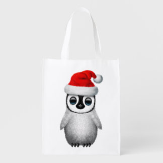 Baby Penguin Wearing a Santa Hat Reusable Grocery Bag