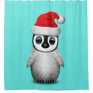 Baby Penguin Wearing a Santa Hat Shower Curtain