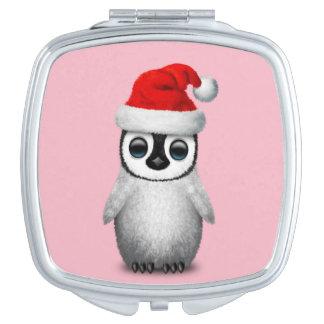 Baby Penguin Wearing a Santa Hat Travel Mirror