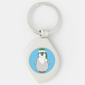 Baby Penguin with Green Santa Hat Silver-Colored Swirl Key Ring