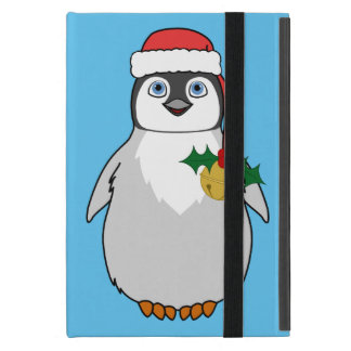 Baby Penguin with Red Santa Hat & Gold Bell iPad Mini Covers