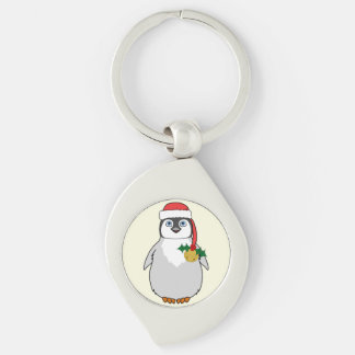 Baby Penguin with Red Santa Hat & Gold Bell Silver-Colored Swirl Key Ring