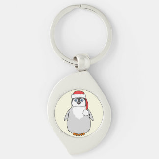 Baby Penguin with Red Santa Hat Silver-Colored Swirl Key Ring