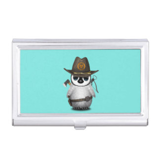 Baby Penguin Zombie Hunter Business Card Holder