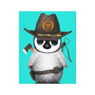 Baby Penguin Zombie Hunter Canvas Print