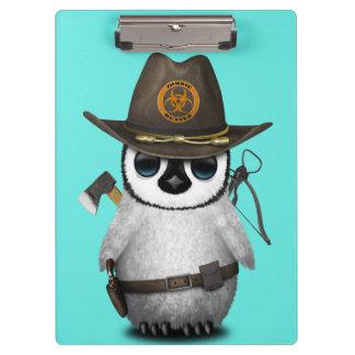 Baby Penguin Zombie Hunter Clipboard