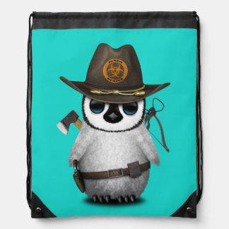 Baby Penguin Zombie Hunter Drawstring Bag