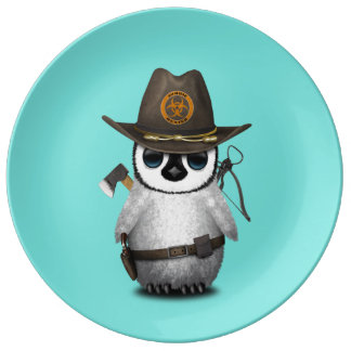 Baby Penguin Zombie Hunter Plate