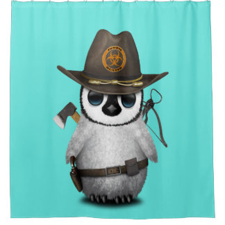 Baby Penguin Zombie Hunter Shower Curtain