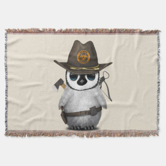 Baby Penguin Zombie Hunter Throw Blanket