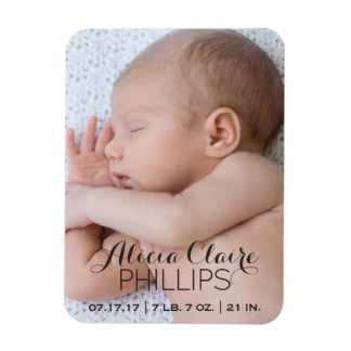 Baby Photo Birth Announcement   Modern Script Magnet