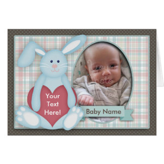 Baby Photo Card, Blue Bunny, Plaid, You Customize Greeting Card