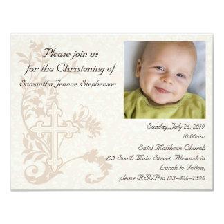"Baby Photo Christening Invitation 4.25"" X 5.5"" Invitation Card"