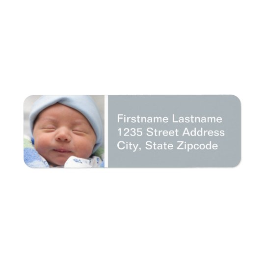 Baby Photo Return Address Labels | Nickel Grey