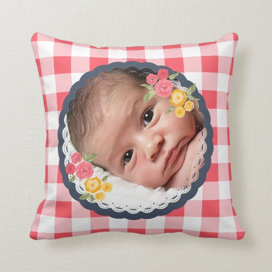 Baby Photo Shabby Chic Gingham Flower Floral Plaid Cushion