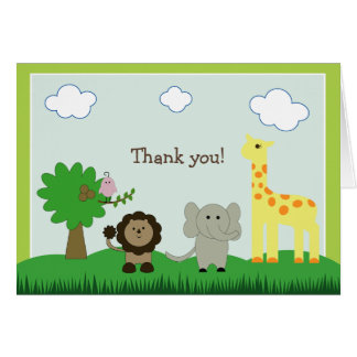 Baby Photo Zoo Animal Thank You Card (lime green)