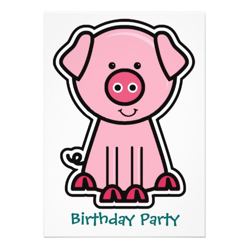 Baby Pig Sticker Birthday Party Personalized Invite