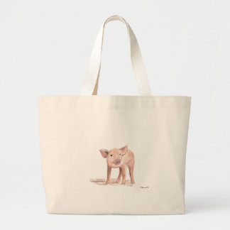 Baby piglet pig art large tote bag