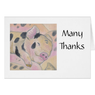 Baby Piglet Thank You Notecard