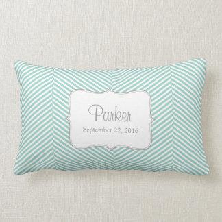 Baby Pillow - blue herringbone pattern