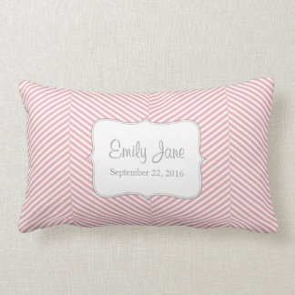 Baby Pillow - pink herringbone pattern