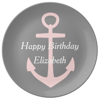 Baby Pink Anchor on Dove Grey Happy Birthday Porcelain Plate