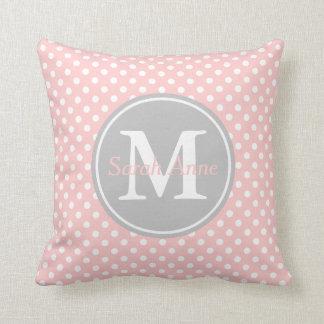 Baby Pink and Ash Grey Polka Dot Monogram Cushion