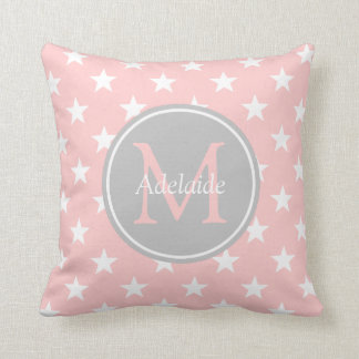 Baby Pink and Ash Grey Stars Monogram Throw Pillow