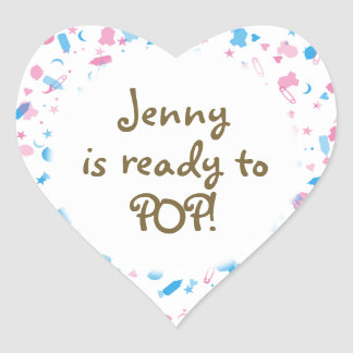 Baby Pink and Blue Confetti Baby Shower Favor Heart Sticker